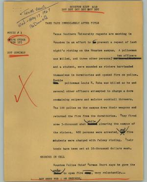 Primary view of object titled '[News Script: Houston riot]'.