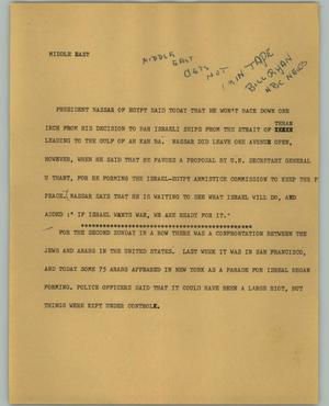 Primary view of object titled '[News Script: Middle East]'.
