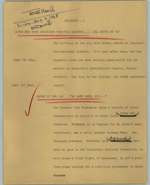 Primary view of object titled '[News Script: McCarthy]'.