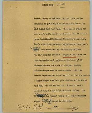 Primary view of object titled '[News Script: United Fund]'.