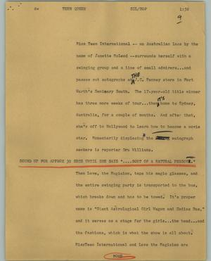 Primary view of object titled '[News Script: Teen queen]'.
