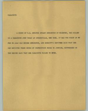 Primary view of object titled '[News Script: Parachute]'.