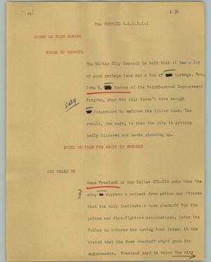 Primary view of object titled '[News Script: Dal council]'.
