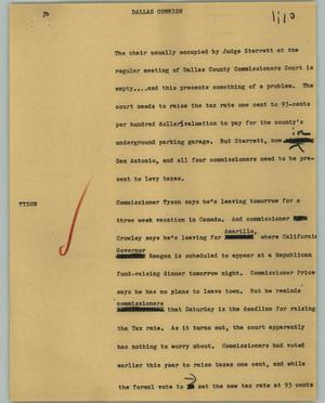Primary view of object titled '[News Script: Dallas commish]'.