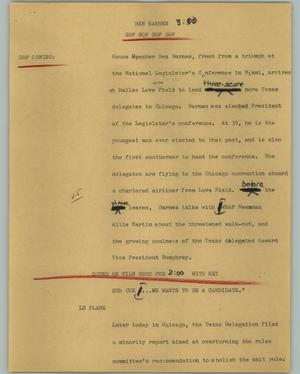 Primary view of object titled '[News Script: Ben Barnes]'.