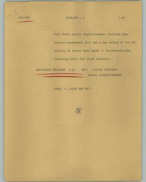 Primary view of object titled '[News Script: Truelson]'.