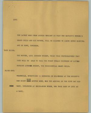 Primary view of object titled '[News Script: Luci]'.
