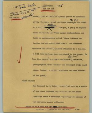 Primary view of object titled '[News Script: Ordinance]'.