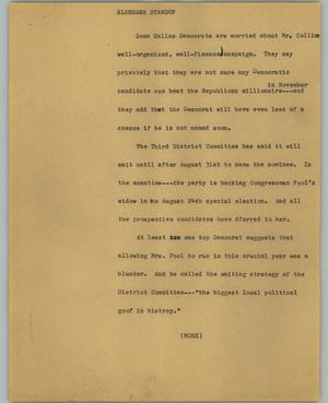 Primary view of object titled '[News Script: Elsesser standup]'.