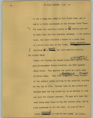 Primary view of object titled '[News Script: Uphill landing]'.