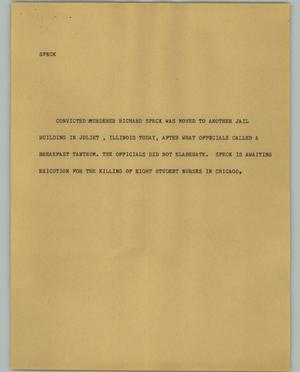 Primary view of object titled '[News Script: Speck]'.