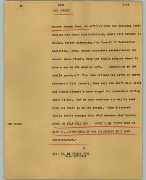 Primary view of object titled '[News Script: NASA]'.