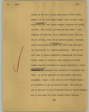 Primary view of object titled '[News Script: Hand]'.