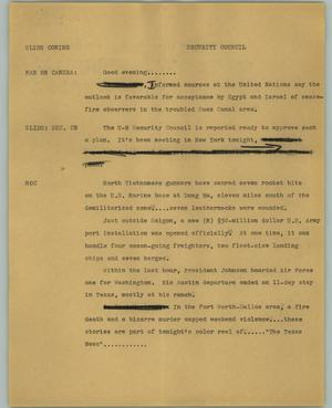 Primary view of object titled '[News Script: Security Council]'.