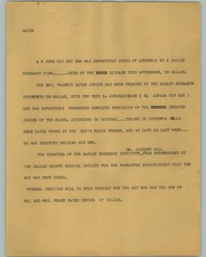 Primary view of object titled '[News Script: Hayes]'.
