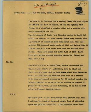 Primary view of object titled '[News Script: South Park]'.