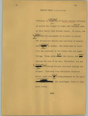 Primary view of object titled '[News Script: Schultz trial]'.