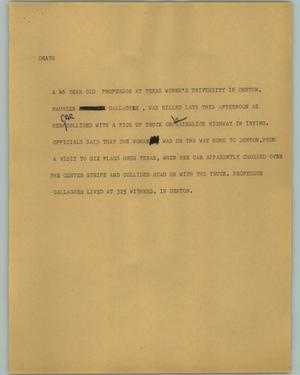 Primary view of object titled '[News Script: Death]'.