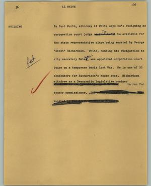 Primary view of object titled '[News Script: Al White]'.