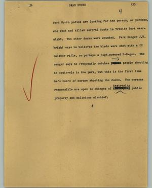Primary view of object titled '[News Script: Dead ducks]'.