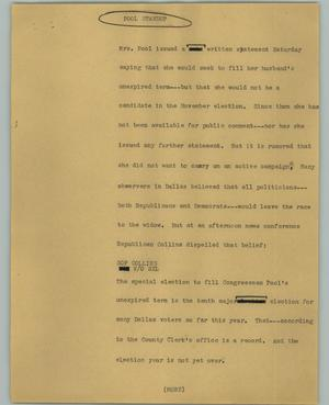 Primary view of object titled '[News Script: Pool]'.