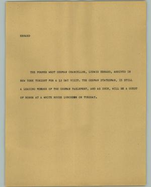 Primary view of object titled '[News Script: Erhard]'.