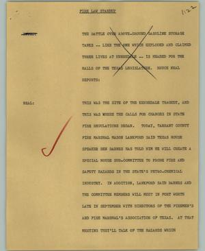Primary view of object titled '[News Script: Fire law standup]'.