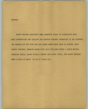 Primary view of object titled '[News Script: Forgery]'.