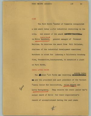 Primary view of object titled '[News Script: News briefs (Awards)]'.