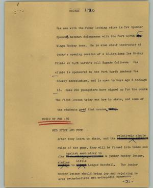 Primary view of object titled '[News Script: Hockey]'.