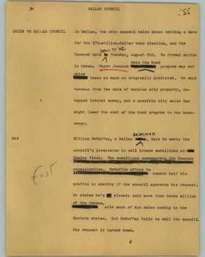 Primary view of object titled '[News Script: Dallas County]'.