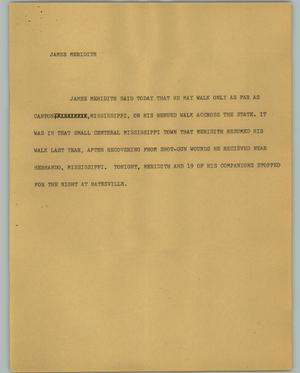 Primary view of object titled '[News Script: James Meredith]'.