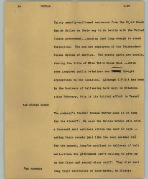 Primary view of object titled '[News Script: Postal]'.