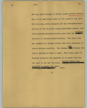 Primary view of object titled '[News Script: Jail]'.