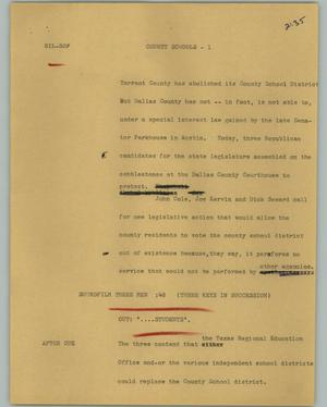 Primary view of object titled '[News Script: County schools]'.
