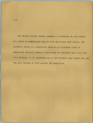 Primary view of object titled '[News Script: U.N. ]'.