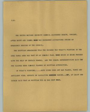 Primary view of object titled '[News Script: U.N.]'.