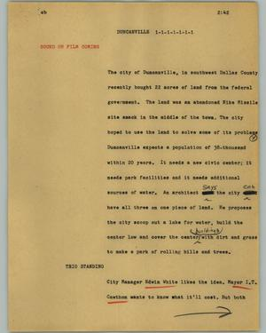 Primary view of object titled '[News Script: Duncanville]'.