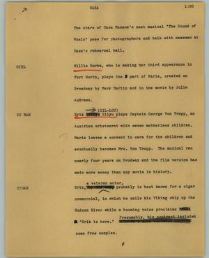 Primary view of object titled '[News Script: Casa]'.