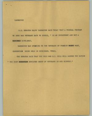 Primary view of object titled '[News Script: Yarbrough]'.