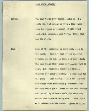 Primary view of object titled '[News Script: Lake Worth standup]'.