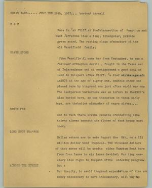 Primary view of object titled '[News Script: Graveyard]'.