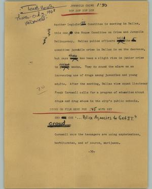 Primary view of object titled '[News Script: Juvenile Crime]'.