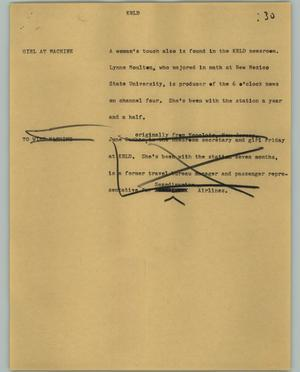 Primary view of object titled '[News Script: KRLD]'.