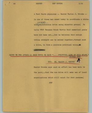 Primary view of object titled '[News Script: Brooks]'.