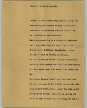 Primary view of object titled '[News Script: Standup for ten on McKinzie]'.
