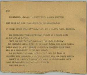 Primary view of object titled '[News Script: James Ray]'.