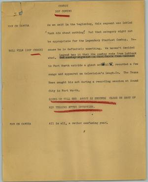 Primary view of object titled '[News Script: Cowboy]'.