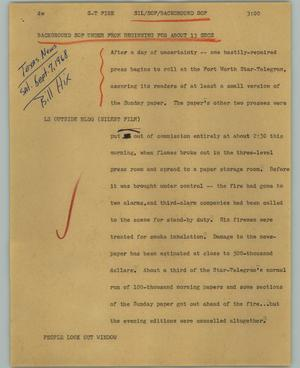Primary view of object titled '[News Script: Star Telegram fire]'.
