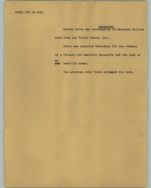 Primary view of object titled '[News Script: Curry out on bond]'.